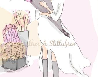 Hello Spring - Art for Women-  Cherry Blossoms - Wall Art - Art for Girls - Art for Women - Inspirational Art