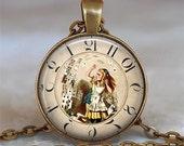 Steampunk Alice pendant, Alice necklace charm, Steampunk necklace, Wonderland jewelry, Alice key chain, Alice keychain key fob