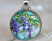 Tiffany Stained Glass Wisteria pendant, Wisteria necklace, Tiffany stained glass pendant, gardener's gift, lavender keychain key chain