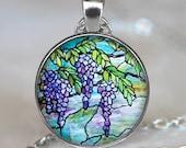 Tiffany Stained Glass Wisteria necklace, flower pendant Tiffany stained glass pendant symbolic jewelry Easter jewelry keychain key chain