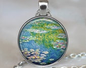 Monet's Water Lily Pond art pendant, water lily necklace, Monet art pendant, Monet art jewelry, French impressionism keychain key chain