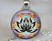 Psychedelic Lotus pendant, Lotus flower, yoga pendant, yoga jewelry, hippie jewelry 60's retro, yoga necklace lotus necklace keychain