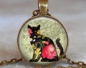Black Calico Cat pendant, cat necklace, cat lover gift, cat jewelry, cat lover pendant, cat jewellery cat keychain cat key chain cat key fob