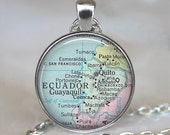 Ecuador map pendant, Ecuador map necklace Ecuador pendant Ecuador necklace map jewelery Ecuador keychain key chain key fob
