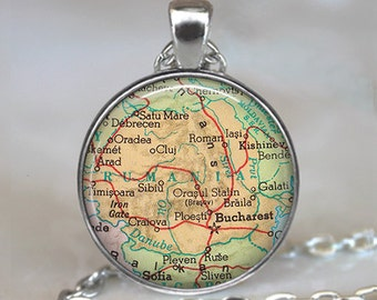 Romania map pendant, Romania map necklace, Romania pendant, vintage map jewelry, Romania key chain keychain key fob