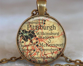 Pittsburgh map pendant, Pittsburgh necklace map jewelry, Camden map pendant, Pittsburgh pendant Pittsburgh keychain key chain