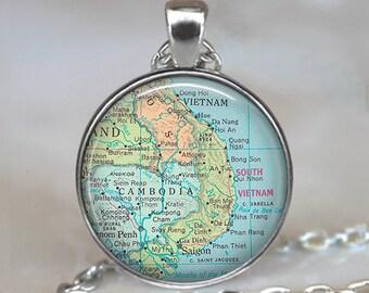 Cambodia map pendant, Cambodia pendant, Cambodia necklace, Vietnam map pendant, Vietnam pendant, keychain