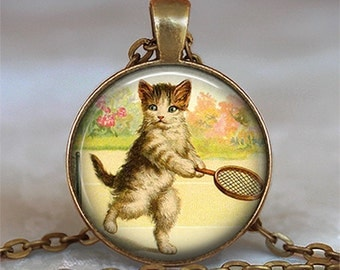 Tennis Kitten pendant, cat jewelry, cat necklace, cat jewelry tennis pendant tennis player's gift, tennis keychain key chain