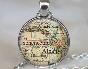 Albany, Schenectady pendant, Albany map pendant, Schenectady map pendant, Amsterdam NY, map jewelry keychain