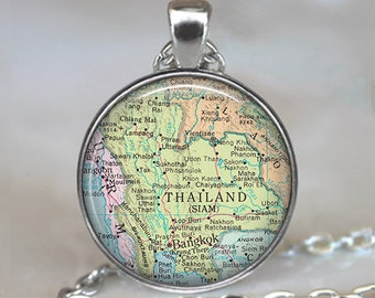 Thailand map pendant, Thailand map jewelry, Thailand pendant, map necklace, map jewelry keychain key chain key fob