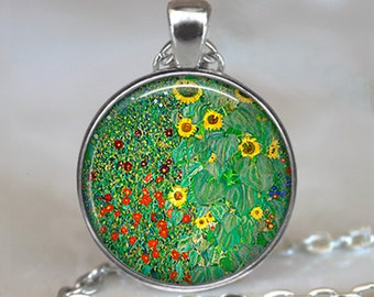 Klimt's Farm Garden with Sunflowers necklace,  Klimt art pendant, sunflower pendant gardener's gift keychain key chain