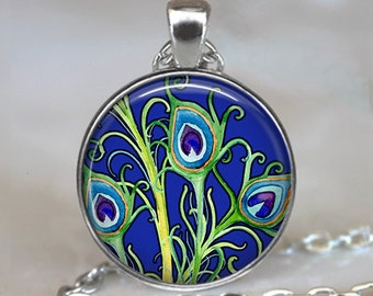 Peacock Garden pendant, Peacock art pendant, Peacock jewelry Peacock necklace Peacock jewellery keychain key chain
