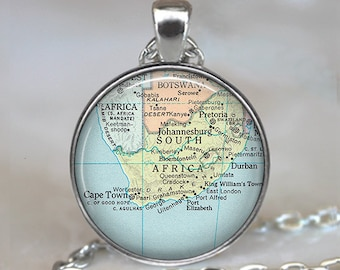 South Africa map necklace, South Africa map pendant,  map jewellery, South Africa pendant, South Africa necklace keychain key chain