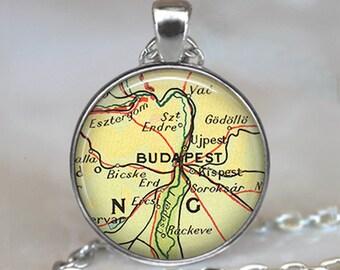 Budapest map pendant, Budapest, Hungary map necklace, Budapest pendant, Budapest necklace keychain key fob