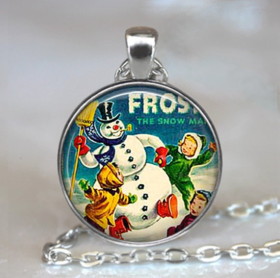 Frosty the Snowman pendant, Christmas jewelry, Christmas pendant, snowman necklace, Christmas necklace