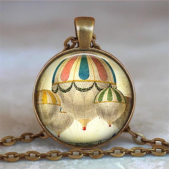 Hot Air Balloon necklace pendant charm, hot air balloon jewelry, steampunk necklace, balloonist gift keychain key chain