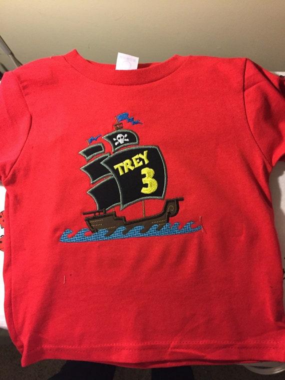 Pirate ship birthday shirt custom order boys birthday shirt for Custom t shirts international shipping