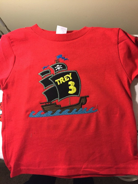 Pirate ship birthday shirt custom order boys birthday shirt for Order custom shirts online