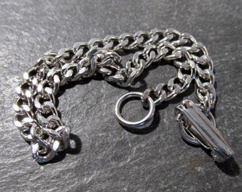 Ladies SILVER Tone Bracelet VINTAGE Cuban Curb Link Charm Bracelet Ladies 4mm x 7mm Links Ready to Wear Vintage Jewelry Charm Bracelet (G105