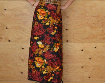 Vintage 60's Skirt Black Fall Floral Quilted A-line Maxi SZ M