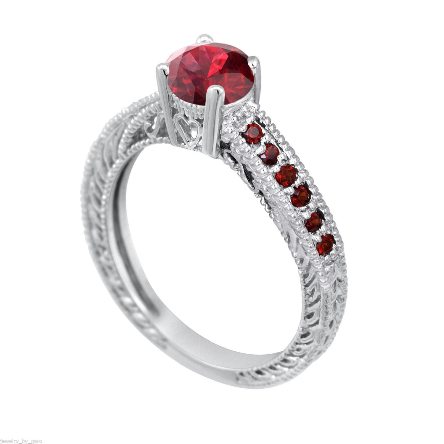 Garnet Ring Bands: Garnet Engagement Ring 14K White Gold 0.65 Carat By