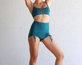 Womens Shorts - Yoga Shorts - Hot Pants - Yoga Clothing - Activewear - Organic Cotton Shorts Teal