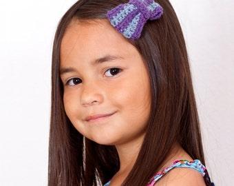 NEW - Girls Crochet Bow Hair Clip - Stripe