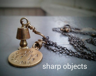 This Little Light - miniature lamp charm, stamped metalwork idiom tag, gunmetal chain NECKLACE