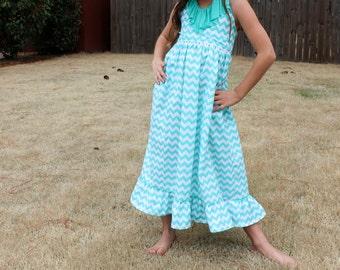 RTS Size 8/10 Girls Turquoise and White Chevron Maxi Dress