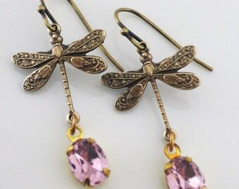 Vintage Earrings - Dragonfly Earrings - Brass Earrings - handmade jewelry