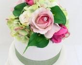 Wedding Cake Topper - Pink Rose, Green Hydrangea, Calla Lily, Silk Flower Cake Topper, Wedding Cake Flowers, Spring Wedding Cake Topper