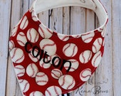 Baby Baseball Bib, Bandana Bib, Baseball Fabric, Personalized Bib, Drool Bib, Baby Shower Gift, Birthday Bib