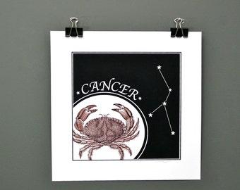 Cancer Zodiac Print, Digital Print of Cancer The Crab - All Twelve Horoscope Signs Available - Original Digital Astrology Stars Print