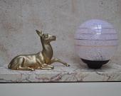 French Table Lamp -  Art  Deco - Golden Deer on Marble Base