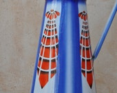 French Enamel Pitcher - Art Deco - Blue and Red