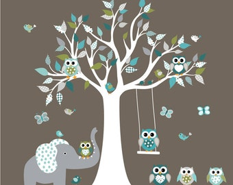 Children's Wall Kids Wall Decal, Owl Tree Decal,Nursery Decal