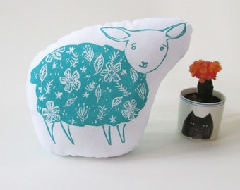 Floral Lamb Pillow. Hand Woodblock Printed. Choose Any Color. Made to Order. Xmas Order deadline DEC 3rd