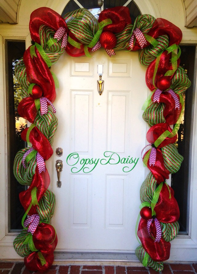 Christmas garland door swag christmas deco by for Door garland christmas