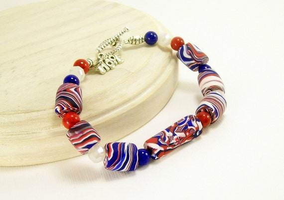 Patriotic Bracelet, Polymer Clay Bracelet, Red White and Blue Beaded Bracelet, Handmade, Polymer Clay Jewelry, Patriotic Jewelry