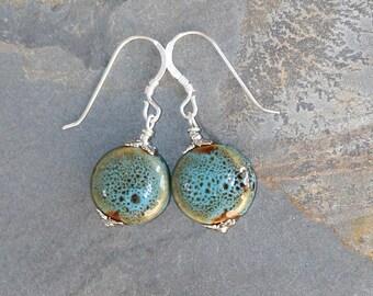 Blue Green Earrings, Turquoise Earrings, Ceramic Earrings, Rustic Earrings, Handmade Earrings, Beaded Earrings, Bohemian Earrings, Earthy