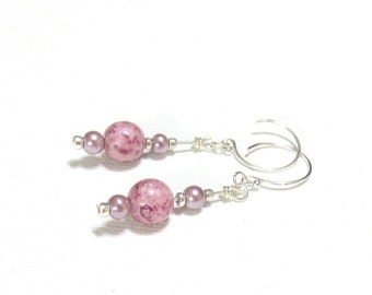 Pink Dangle Earrings, Sterling Silver Earrings, Pale Lavender Glass Pearls, Pink Luster Beads, Cottage Chic, Pretty Beach Earrings, Shiny