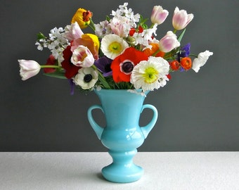 Large Turquoise Blue Milk Glass Vase - Two Handled Urn Form by Fenton -  Pastel Wedding Centerpiece