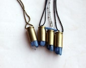 blue kyanite bullet necklace . choose your chain
