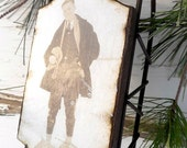 Charming Vintage Snowshoe Guy - Large Rusty Tin Sled - Vintage Ski - Ornament - Vintage Sled - Vintage Snowshoe - Sled - Rustic - Snowshoe