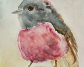 Robin Watercolor Painting, Original Watercolor Bird, Bird Painting, Robin Art, Bird wall art, wall art gift, pink, gray, 5x7
