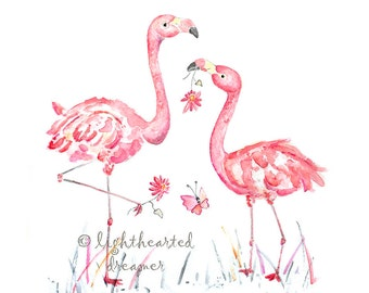Flamingo Watercolor Print Pink, Nursery Art, Girl's Bathroom Art, Pink Nursery Picture, Girl's Nursery Decor, girl's nursery print