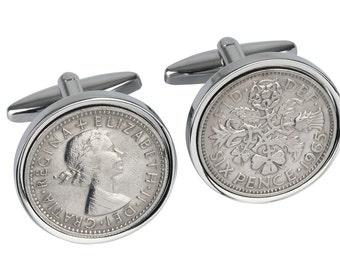 1965 Gift Ideas - 52nd Birthday Present - 1965 Old English sixpence - Genuine coins from England - Cufflinks for Men - 100% satisfaction
