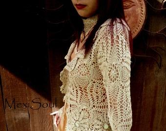 Bohemian Chic Bridal Sweater, OOAK Design, Gypsy, Boho Chic, Alternative Bridal Wear