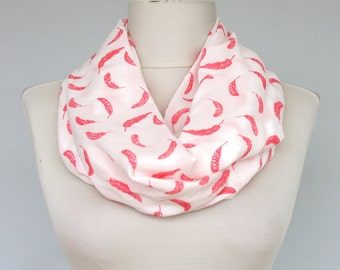 Feather print scarf soft infinity loop circle women scarves fashion accessories gift idea for her summer spring mothers day teen girls