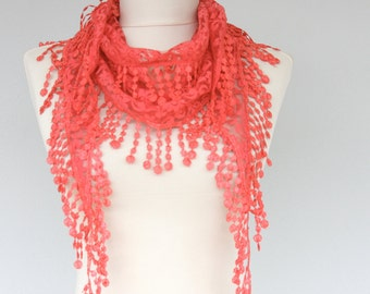 Lace scarf red lace shawl coral fringe scarf skinny scarf bandana scarf lace headband summer accessories mothers day gift for her SIENNA